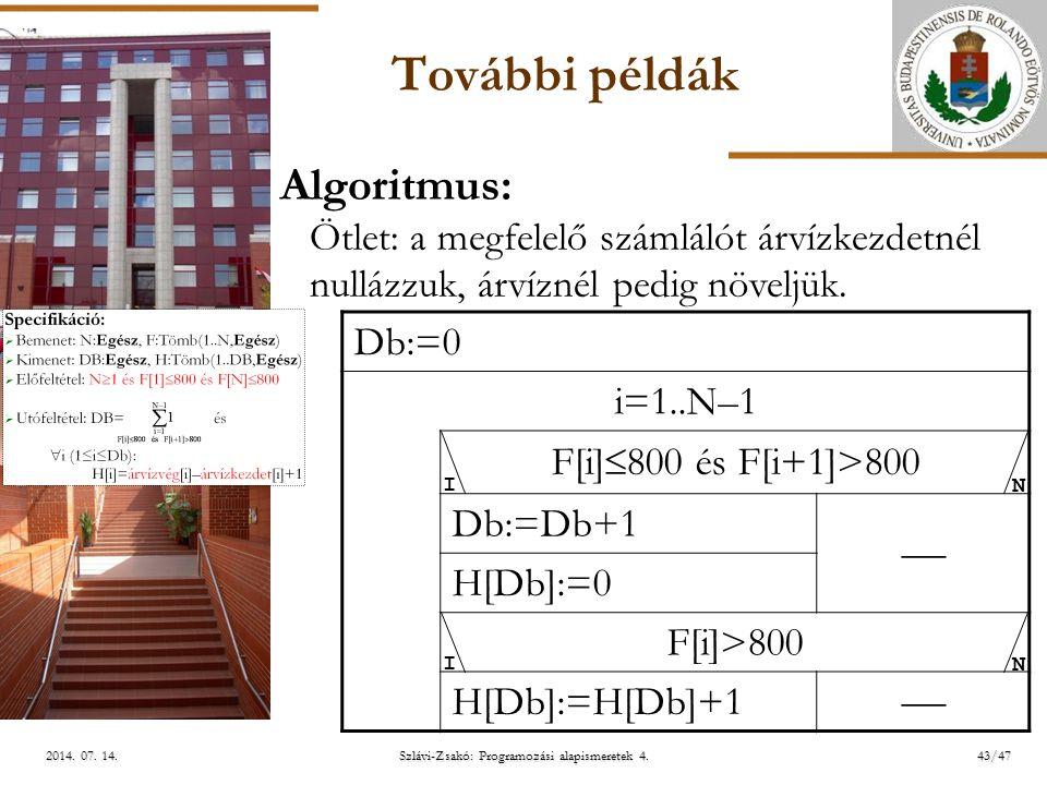 ELTE További példák Db:=0 i=1..N–1 F[i]  800 és F[i+1]>800 Db:=Db+1  H[Db]:=0 F[i]>800 H[Db]:=H[Db]+1  Algoritmus: Ötlet: a megfelelő számlálót árvízkezdetnél nullázzuk, árvíznél pedig növeljük.
