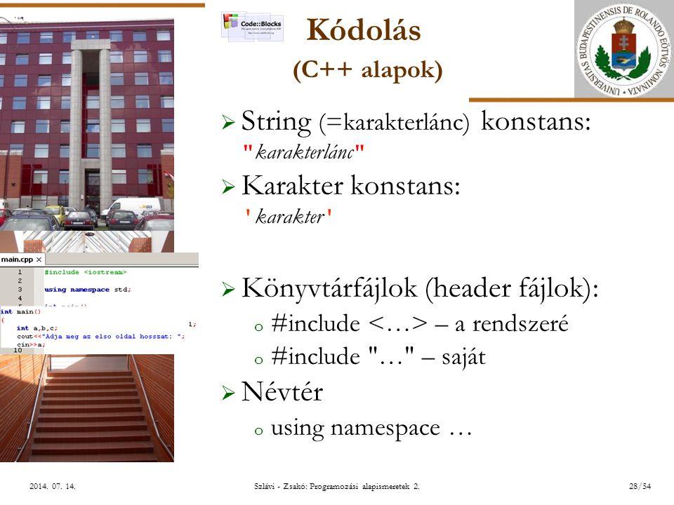 ELTE Szlávi - Zsakó: Programozási alapismeretek 2.28/542014.