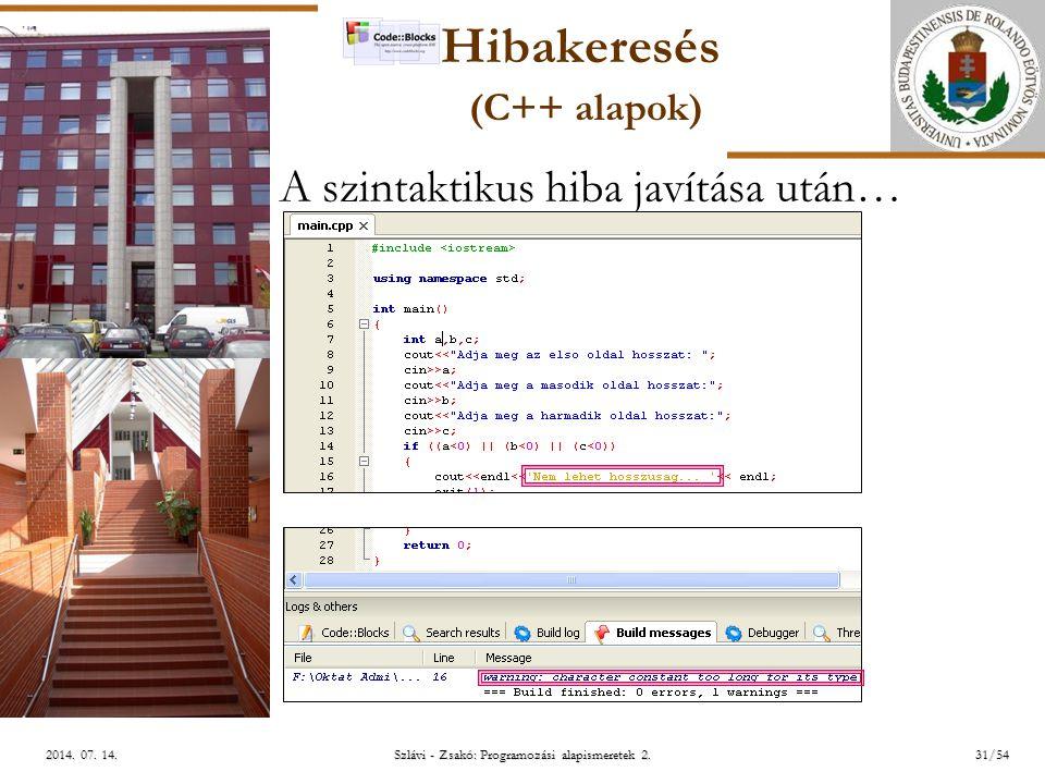 ELTE Szlávi - Zsakó: Programozási alapismeretek 2.31/542014.