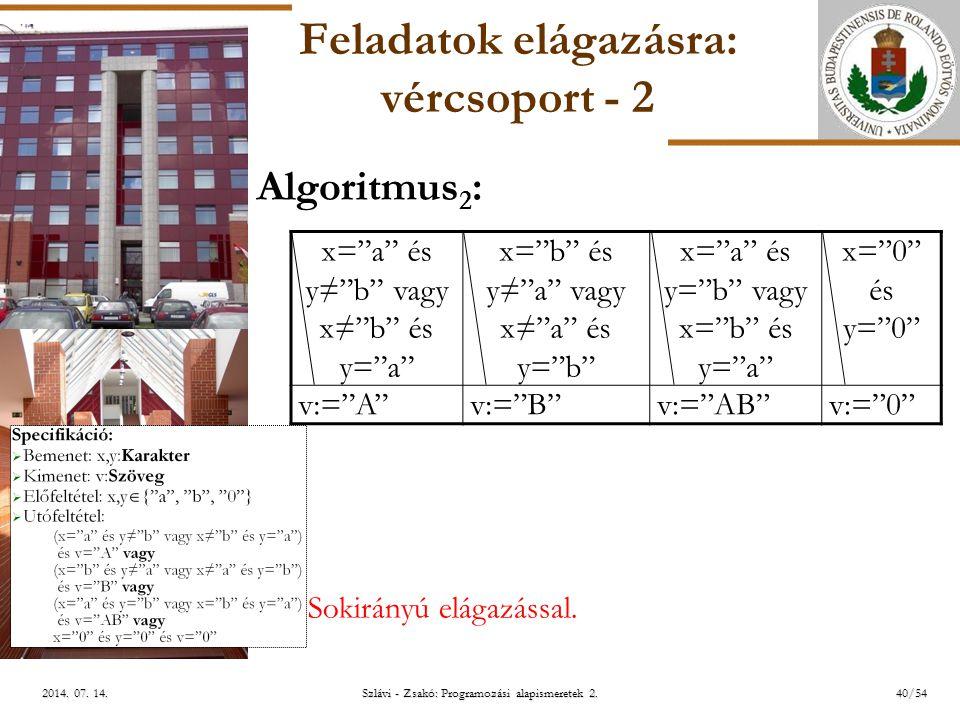 ELTE Szlávi - Zsakó: Programozási alapismeretek 2.40/542014.