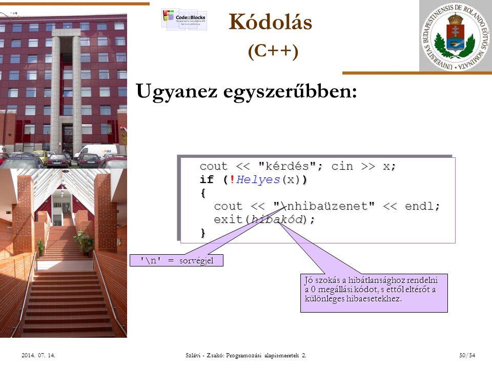 ELTE Szlávi - Zsakó: Programozási alapismeretek 2.50/542014.