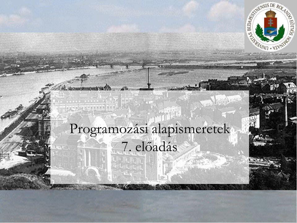 ELTE Szlávi-Zsakó: Programozási alapismeretek 7.előadás2/552014.