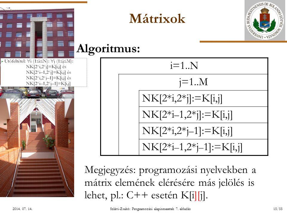 ELTE Szlávi-Zsakó: Programozási alapismeretek 7. előadás15/552014. 07. 14.2014. 07. 14.2014. 07. 14. Mátrixok Algoritmus: Megjegyzés: programozási nye