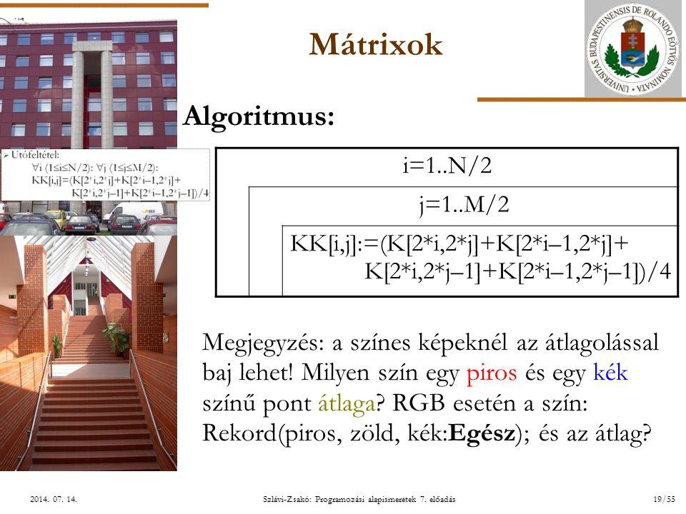 ELTE Szlávi-Zsakó: Programozási alapismeretek 7. előadás19/552014. 07. 14.2014. 07. 14.2014. 07. 14. Mátrixok Algoritmus: Megjegyzés: a színes képekné