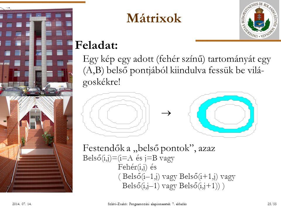 ELTE Szlávi-Zsakó: Programozási alapismeretek 7. előadás25/552014. 07. 14.2014. 07. 14.2014. 07. 14. Mátrixok Feladat: Egy kép egy adott (fehér színű)