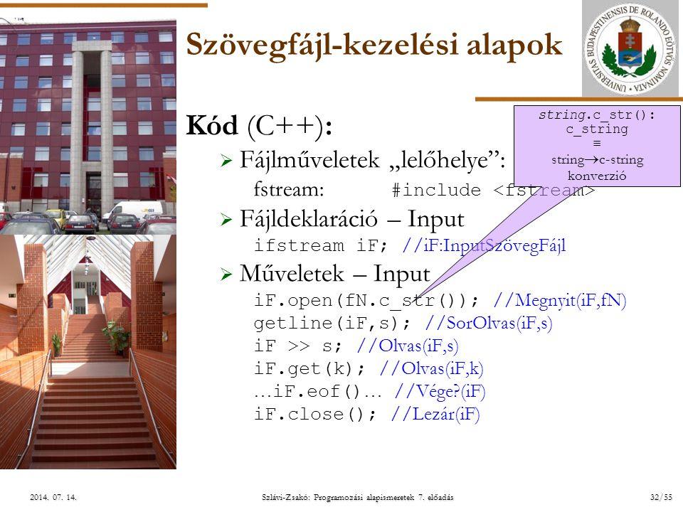 ELTE Szlávi-Zsakó: Programozási alapismeretek 7. előadás32/552014. 07. 14.2014. 07. 14.2014. 07. 14. Szövegfájl-kezelési alapok Kód (C++):  Fájlművel