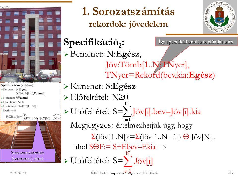 ELTE Így specifikálhatjuk a 6. előadás után. Így specifikálhatjuk a 6. előadás után. Szlávi-Zsakó: Programozási alapismeretek 7. előadás4/552014. 07.