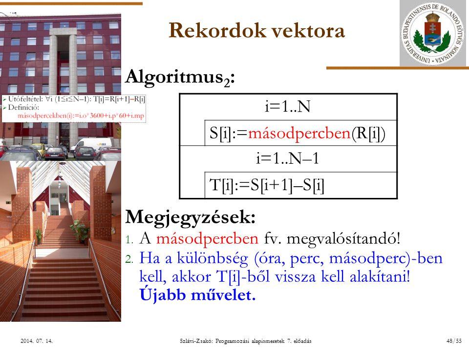 ELTE Szlávi-Zsakó: Programozási alapismeretek 7. előadás48/552014. 07. 14.2014. 07. 14.2014. 07. 14. Rekordok vektora Algoritmus 2 : Megjegyzések: 1.