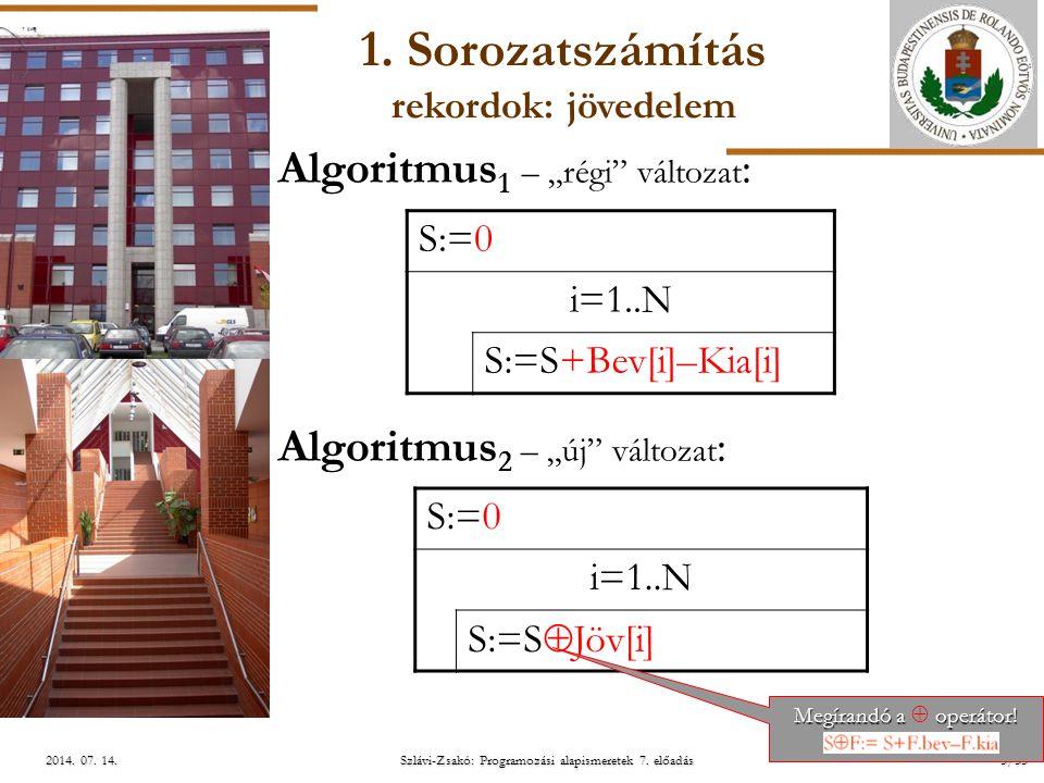 """ELTE Szlávi-Zsakó: Programozási alapismeretek 7. előadás5/552014. 07. 14.2014. 07. 14.2014. 07. 14. Algoritmus 1 – """"régi"""" változat : Algoritmus 2 – """"ú"""
