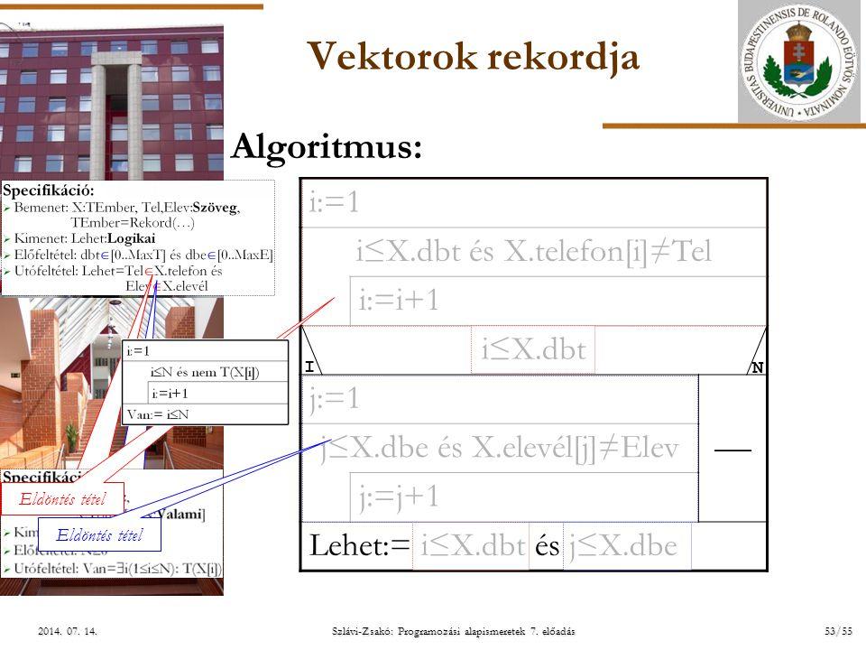 ELTE Szlávi-Zsakó: Programozási alapismeretek 7. előadás53/552014. 07. 14.2014. 07. 14.2014. 07. 14. Vektorok rekordja i:=1 i≤X.dbt és X.telefon[i]≠Te