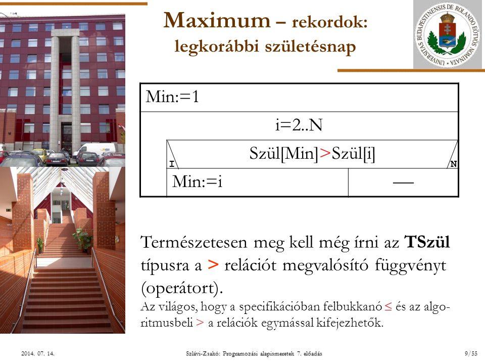ELTE Szlávi-Zsakó: Programozási alapismeretek 7. előadás9/552014. 07. 14.2014. 07. 14.2014. 07. 14. Maximum – rekordok: legkorábbi születésnap Min:=1