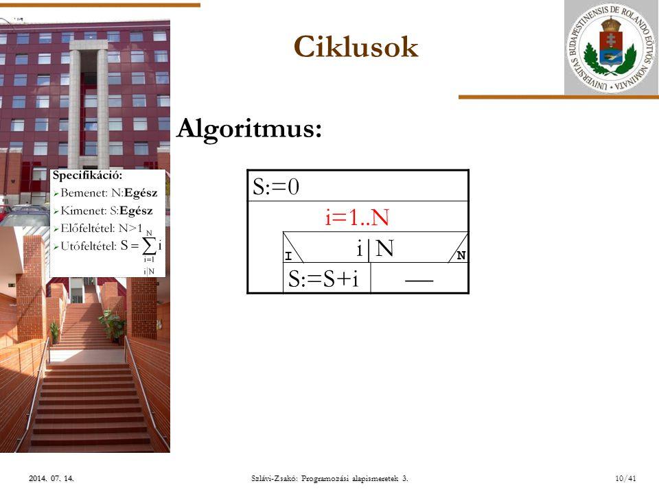 ELTE 2014.07. 14.2014. 07. 14.2014. 07. 14. Szlávi-Zsakó: Programozási alapismeretek 3.