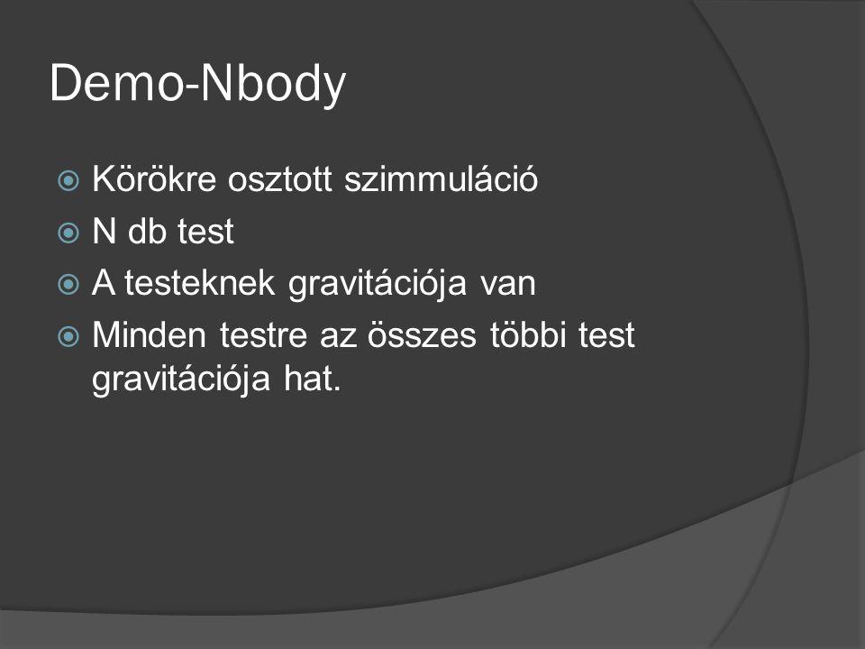 Demo-Nbody  Körökre osztott szimmuláció  N db test  A testeknek gravitációja van  Minden testre az összes többi test gravitációja hat.
