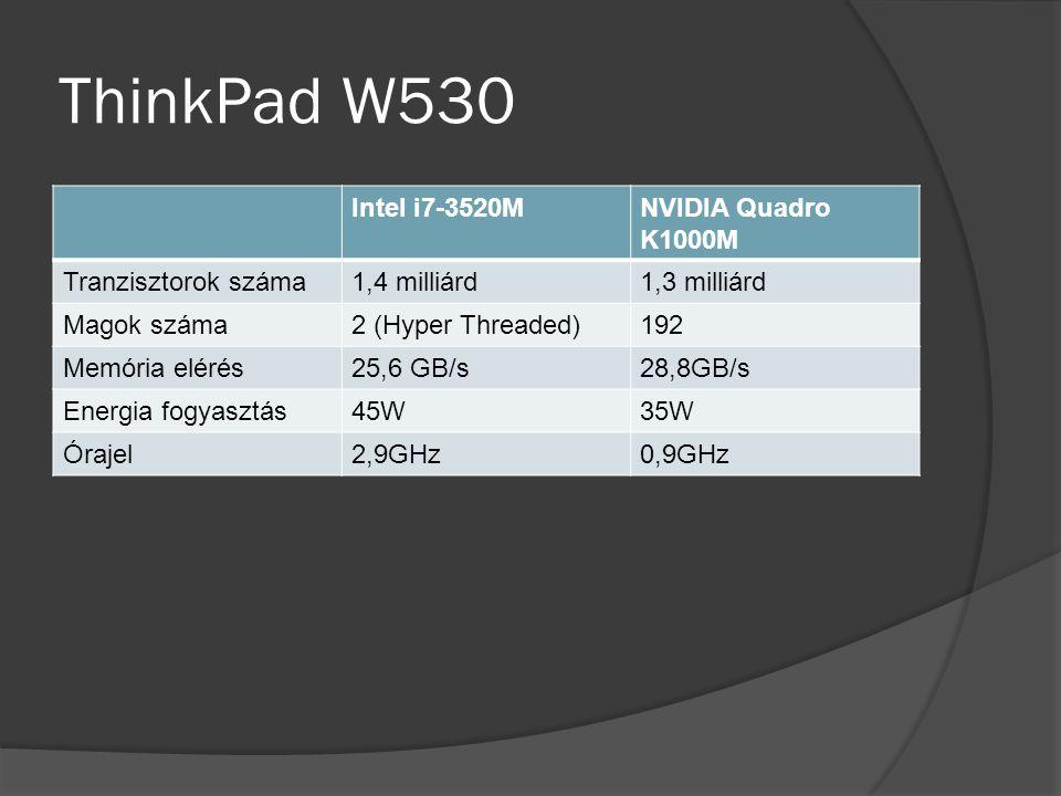 ThinkPad W530 Intel i7-3520MNVIDIA Quadro K1000M Tranzisztorok száma1,4 milliárd1,3 milliárd Magok száma2 (Hyper Threaded)192 Memória elérés25,6 GB/s28,8GB/s Energia fogyasztás45W35W Órajel2,9GHz0,9GHz