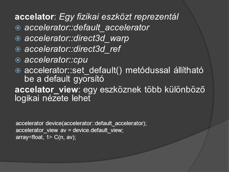 accelator: Egy fizikai eszközt reprezentál  accelerator::default_accelerator  accelerator::direct3d_warp  accelerator::direct3d_ref  accelerator::cpu  accelerator::set_default() metódussal állítható be a default gyorsító accelator_view: egy eszköznek több különböző logikai nézete lehet accelerator device(accelerator::default_accelerator); accelerator_view av = device.default_view; array C(n, av);