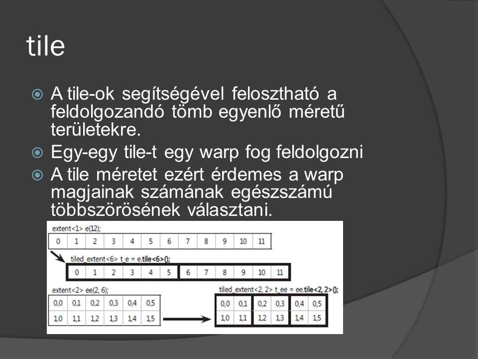 tile  A tile-ok segítségével felosztható a feldolgozandó tömb egyenlő méretű területekre.