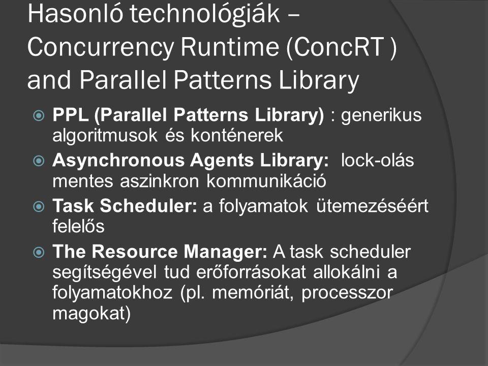 Hasonló technológiák – Concurrency Runtime (ConcRT ) and Parallel Patterns Library  PPL (Parallel Patterns Library) : generikus algoritmusok és konténerek  Asynchronous Agents Library: lock-olás mentes aszinkron kommunikáció  Task Scheduler: a folyamatok ütemezéséért felelős  The Resource Manager: A task scheduler segítségével tud erőforrásokat allokálni a folyamatokhoz (pl.