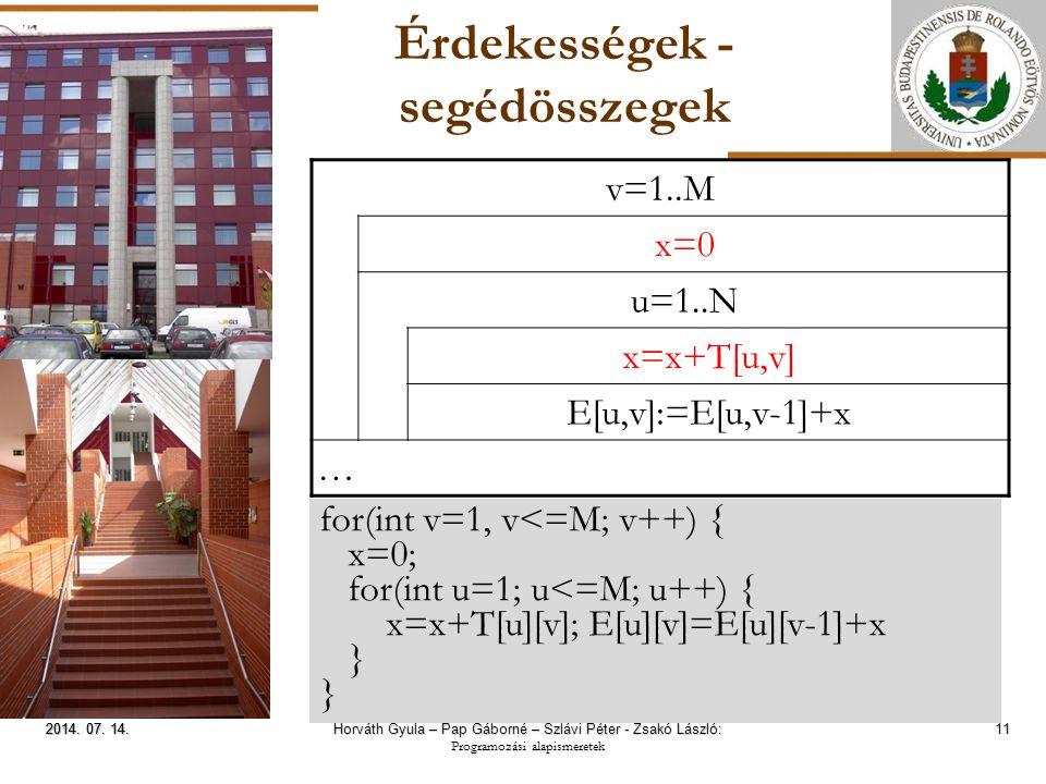 ELTE Érdekességek - segédösszegek 11 2014. 07. 14.2014. 07. 14.2014. 07. 14. v=1..M x=0 u=1..N x=x+T[u,v] E[u,v]:=E[u,v-1]+x … for(int v=1, v<=M; v++)