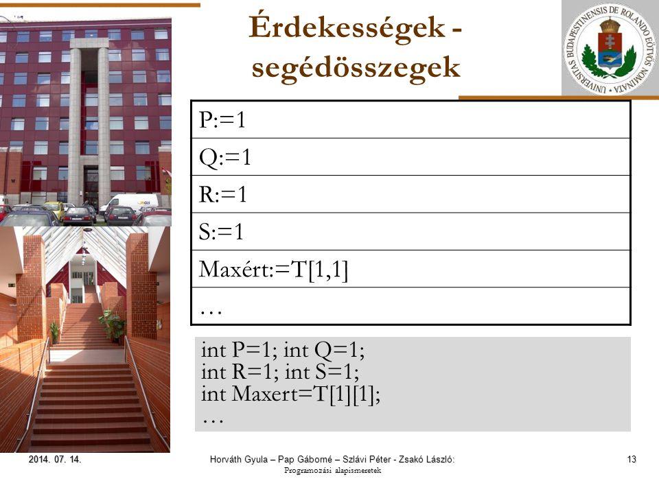 ELTE Érdekességek - segédösszegek 13 2014. 07. 14.2014.