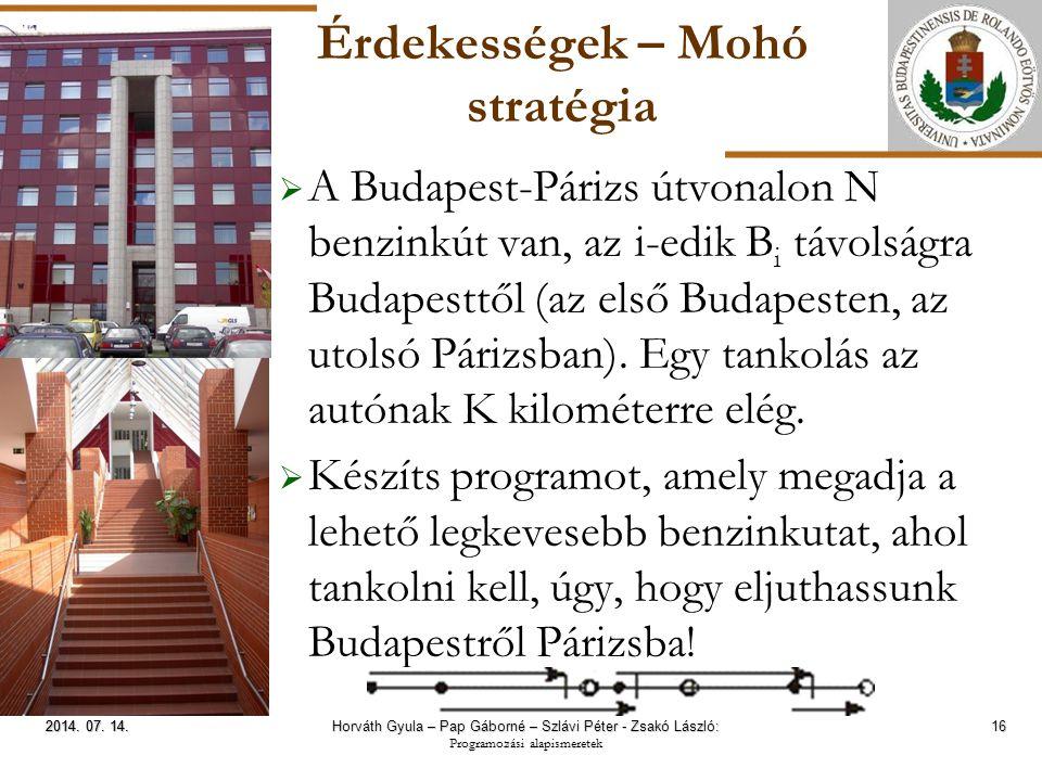 ELTE Érdekességek – Mohó stratégia  A Budapest-Párizs útvonalon N benzinkút van, az i-edik B i távolságra Budapesttől (az első Budapesten, az utolsó