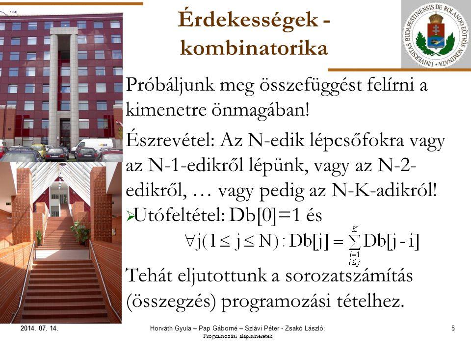 ELTE Érdekességek - kombinatorika 6 2014.07. 14.2014.