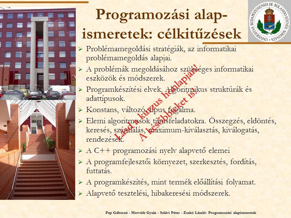 ELTE Programozási alap- ismeretek: jegy Követelmények A.
