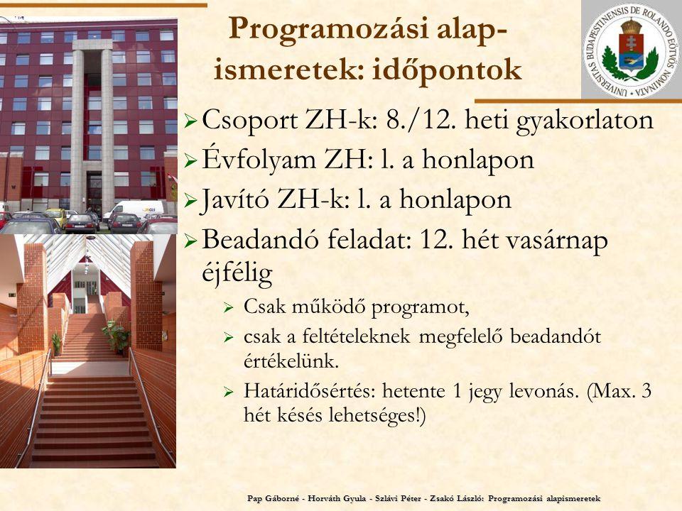 ELTE Programozási alap- ismeretek: időpontok  Csoport ZH-k: 8./12. heti gyakorlaton  Évfolyam ZH: l. a honlapon  Javító ZH-k: l. a honlapon  Beada