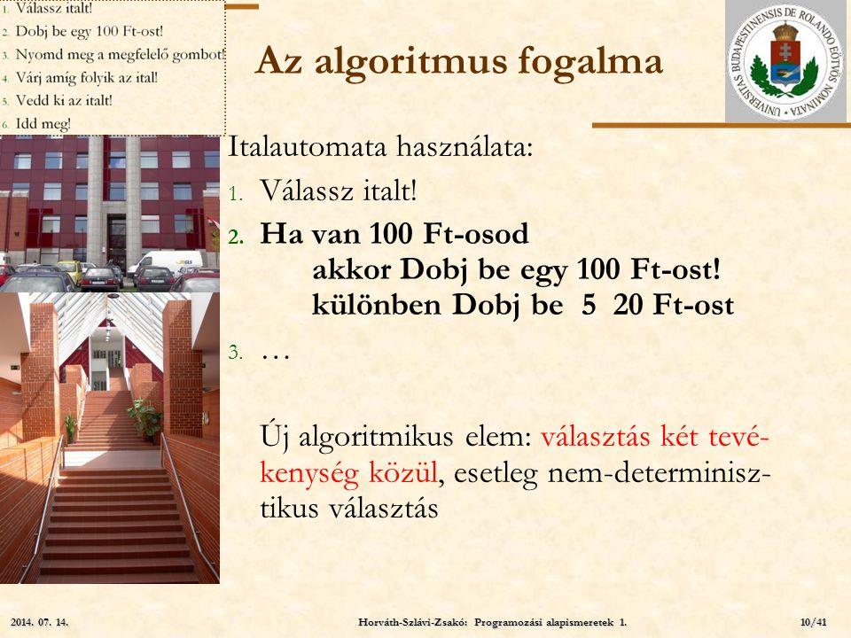 ELTE Az algoritmus fogalma Italautomata használata: 1. Válassz italt! 2. Ha van 100 Ft-osod akkor Dobj be egy 100 Ft-ost! különben Dobj be 5 20 Ft-ost