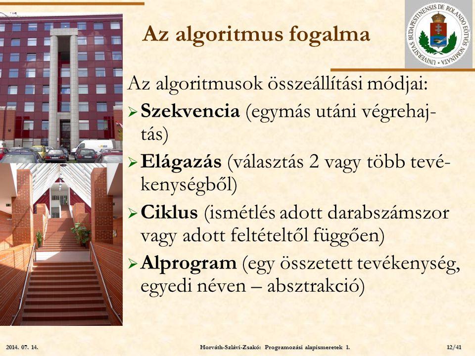 ELTE Az algoritmus fogalma Az algoritmusok összeállítási módjai:  Szekvencia (egymás utáni végrehaj- tás)  Elágazás (választás 2 vagy több tevé- ken
