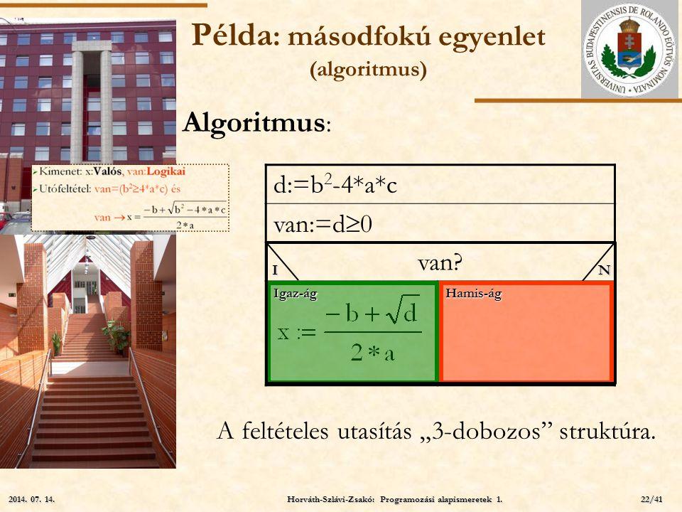 """ELTE Példa : másodfokú egyenlet (algoritmus) d:=b 2 -4*a*c van:=d  0 van? Igaz-ág Hamis-ág IN Algoritmus : A feltételes utasítás """"3-dobozos"""" struktúr"""