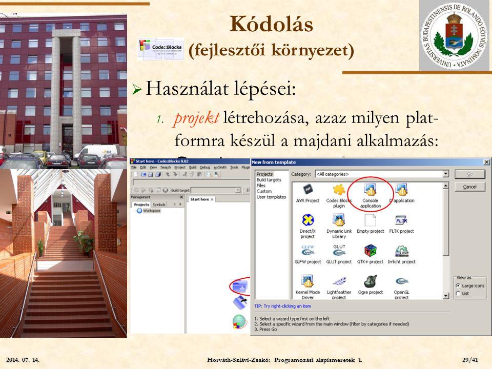 ELTE  Használat további lépései:  a projekt munkakörnyezete a diszken projektnév projekt szü- lőkönyvtár Kódolás (fejlesztői környezet) Horváth-Szlávi-Zsakó: Programozási alapismeretek 1.