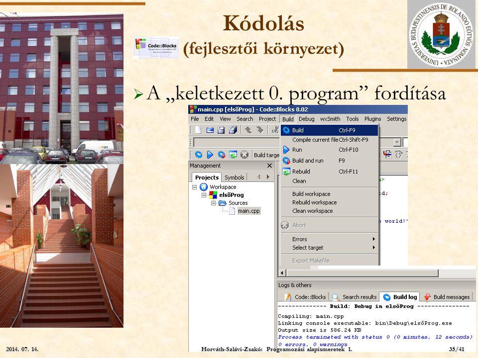 """ELTE  A """"keletkezett 0. program"""" fordítása Kódolás (fejlesztői környezet) Horváth-Szlávi-Zsakó: Programozási alapismeretek 1. 2014. 07. 14.2014. 07."""