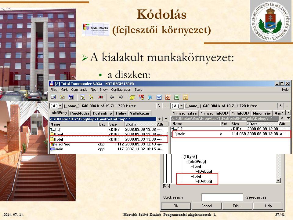 ELTE  A kialakult munkakörnyezet:  a diszken: Kódolás (fejlesztői környezet) Horváth-Szlávi-Zsakó: Programozási alapismeretek 1. 2014. 07. 14.2014.