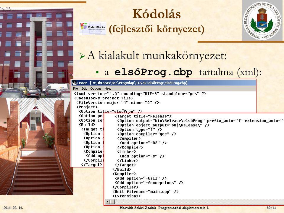 ELTE  A kialakult munkakörnyezet:  a elsőProg.cbp tartalma (xml): (mily meglepő!) Kódolás (fejlesztői környezet) Horváth-Szlávi-Zsakó: Programozási