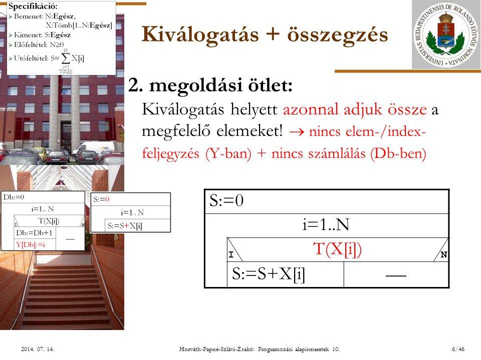 ELTE 6/462014.07. 14.2014. 07. 14.2014. 07. 14. Kiválogatás + összegzés 2.
