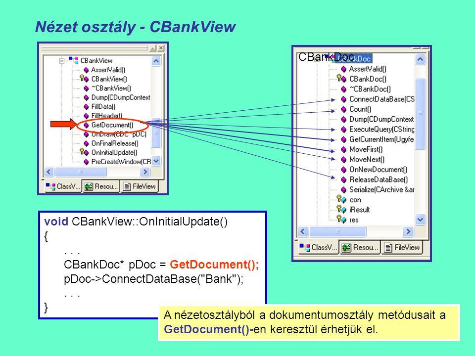 Nézet osztály - CBankView CBankViewCBankDoc void CBankView::OnInitialUpdate() {... CBankDoc* pDoc = GetDocument(); pDoc->ConnectDataBase(