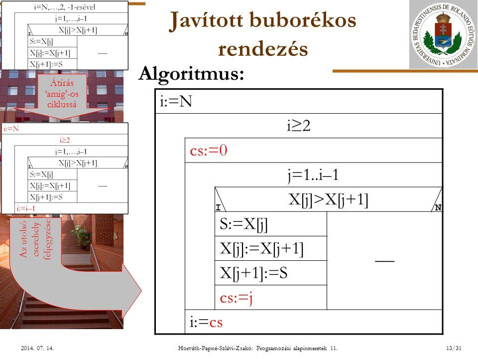 ELTE Horváth-Papné-Szlávi-Zsakó: Programozási alapismeretek 11.13/312014. 07. 14.2014. 07. 14.2014. 07. 14. Algoritmus: Javított buborékos rendezés i: