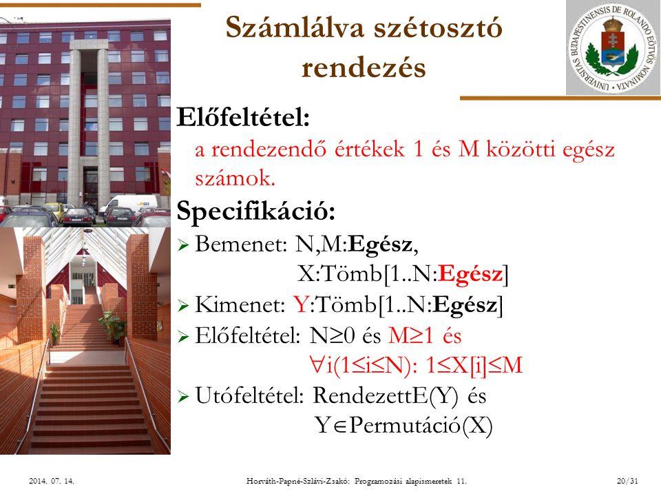 ELTE Horváth-Papné-Szlávi-Zsakó: Programozási alapismeretek 11.20/312014. 07. 14.2014. 07. 14.2014. 07. 14. Számlálva szétosztó rendezés Előfeltétel: