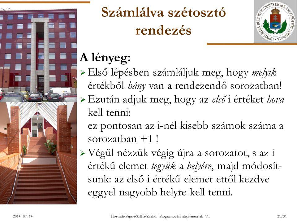 ELTE Horváth-Papné-Szlávi-Zsakó: Programozási alapismeretek 11.21/312014. 07. 14.2014. 07. 14.2014. 07. 14. Számlálva szétosztó rendezés A lényeg:  E