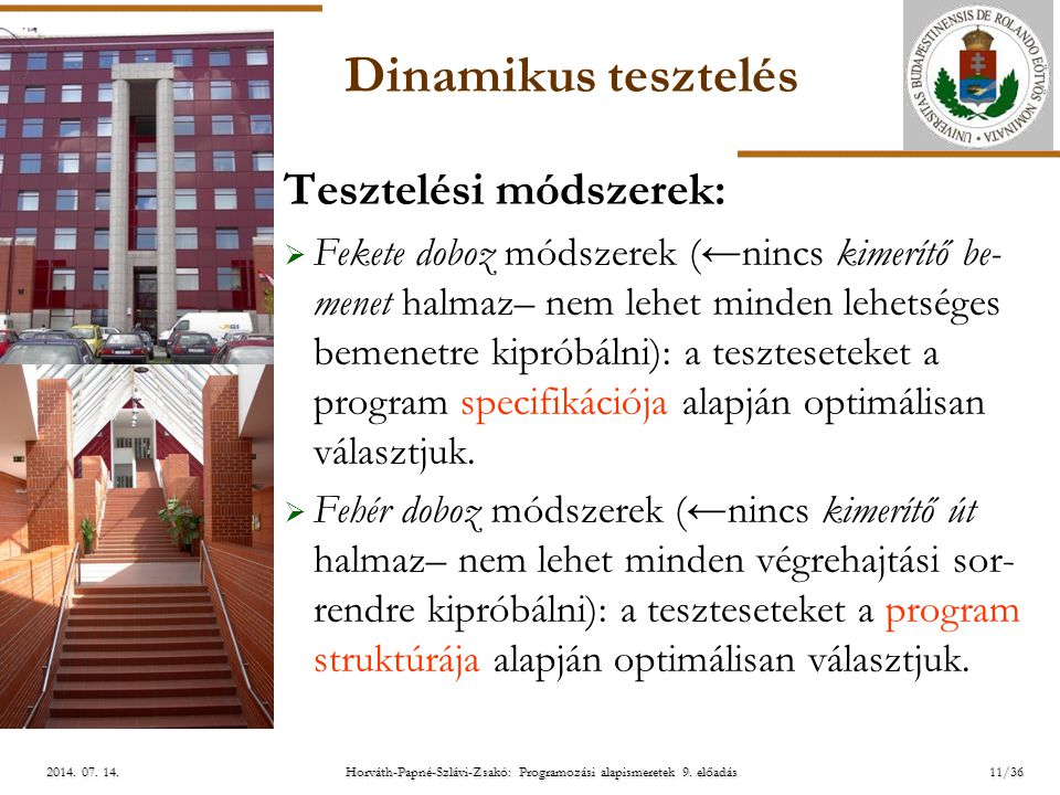 ELTE Horváth-Papné-Szlávi-Zsakó: Programozási alapismeretek 9. előadás2014. 07. 14.2014. 07. 14.2014. 07. 14. Dinamikus tesztelés Tesztelési módszerek