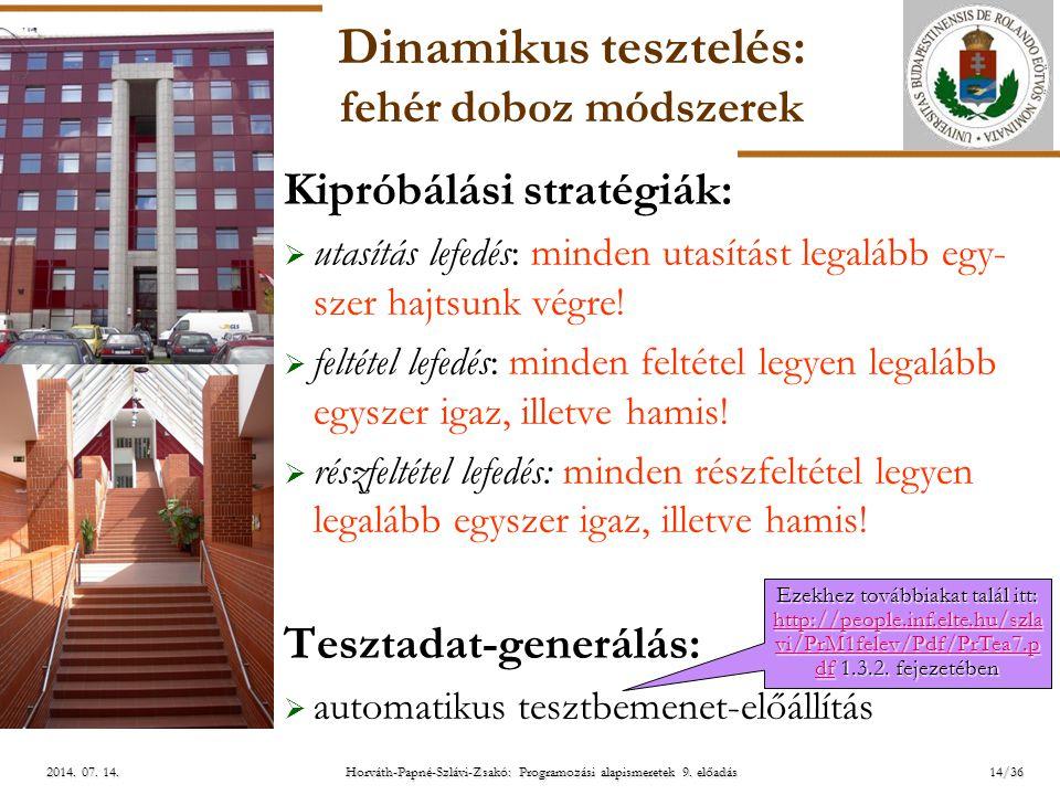 ELTE Horváth-Papné-Szlávi-Zsakó: Programozási alapismeretek 9. előadás2014. 07. 14.2014. 07. 14.2014. 07. 14. Dinamikus tesztelés: fehér doboz módszer