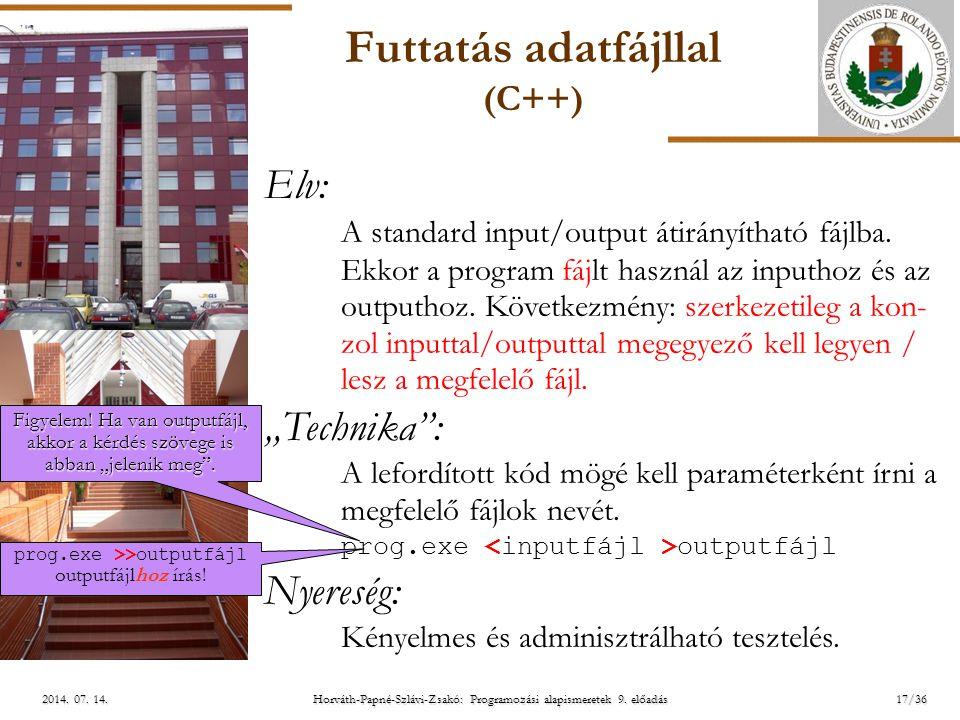 ELTE Horváth-Papné-Szlávi-Zsakó: Programozási alapismeretek 9. előadás2014. 07. 14.2014. 07. 14.2014. 07. 14. Futtatás adatfájllal (C++) Elv: A standa
