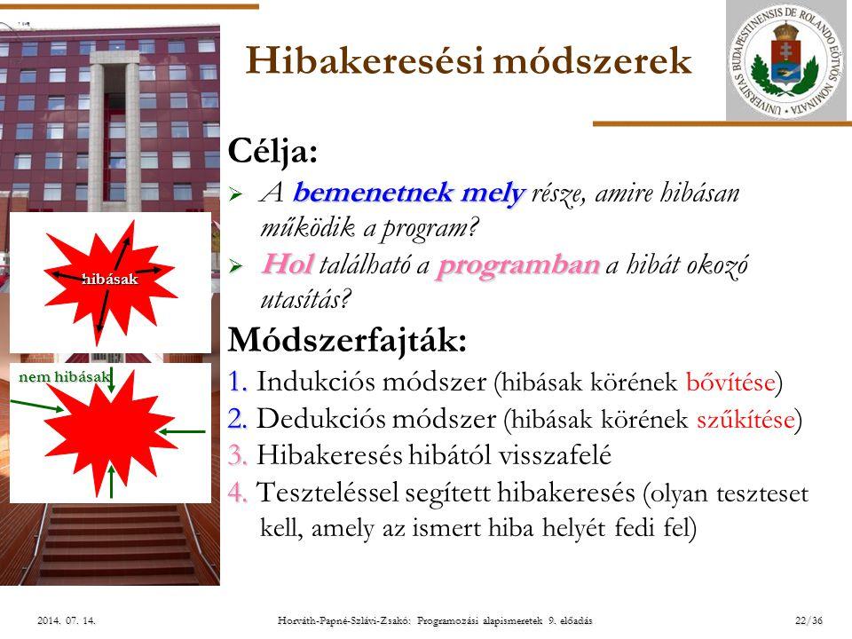 ELTE Horváth-Papné-Szlávi-Zsakó: Programozási alapismeretek 9. előadás2014. 07. 14.2014. 07. 14.2014. 07. 14. Hibakeresési módszerek Célja: bemenetnek