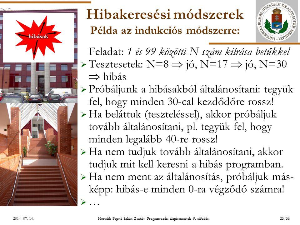 ELTE Horváth-Papné-Szlávi-Zsakó: Programozási alapismeretek 9. előadás2014. 07. 14.2014. 07. 14.2014. 07. 14. Hibakeresési módszerek Példa az indukció