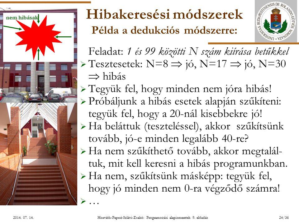 ELTE Horváth-Papné-Szlávi-Zsakó: Programozási alapismeretek 9. előadás2014. 07. 14.2014. 07. 14.2014. 07. 14. Hibakeresési módszerek Példa a dedukciós