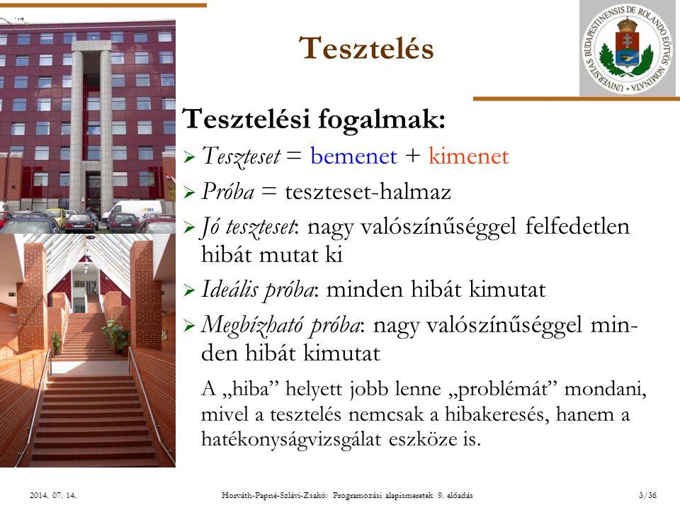 ELTE Horváth-Papné-Szlávi-Zsakó: Programozási alapismeretek 9. előadás2014. 07. 14.2014. 07. 14.2014. 07. 14. Tesztelés Tesztelési fogalmak:  Tesztes
