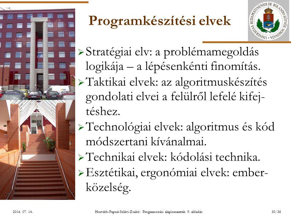 ELTE Horváth-Papné-Szlávi-Zsakó: Programozási alapismeretek 9. előadás2014. 07. 14.2014. 07. 14.2014. 07. 14. Programkészítési elvek  Stratégiai elv: