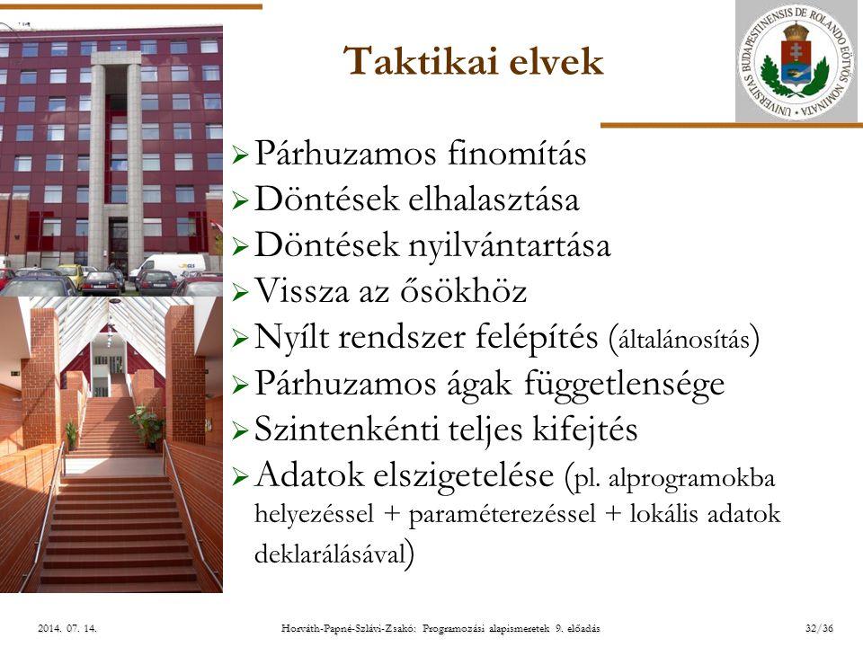ELTE Horváth-Papné-Szlávi-Zsakó: Programozási alapismeretek 9. előadás2014. 07. 14.2014. 07. 14.2014. 07. 14. Taktikai elvek  Párhuzamos finomítás 