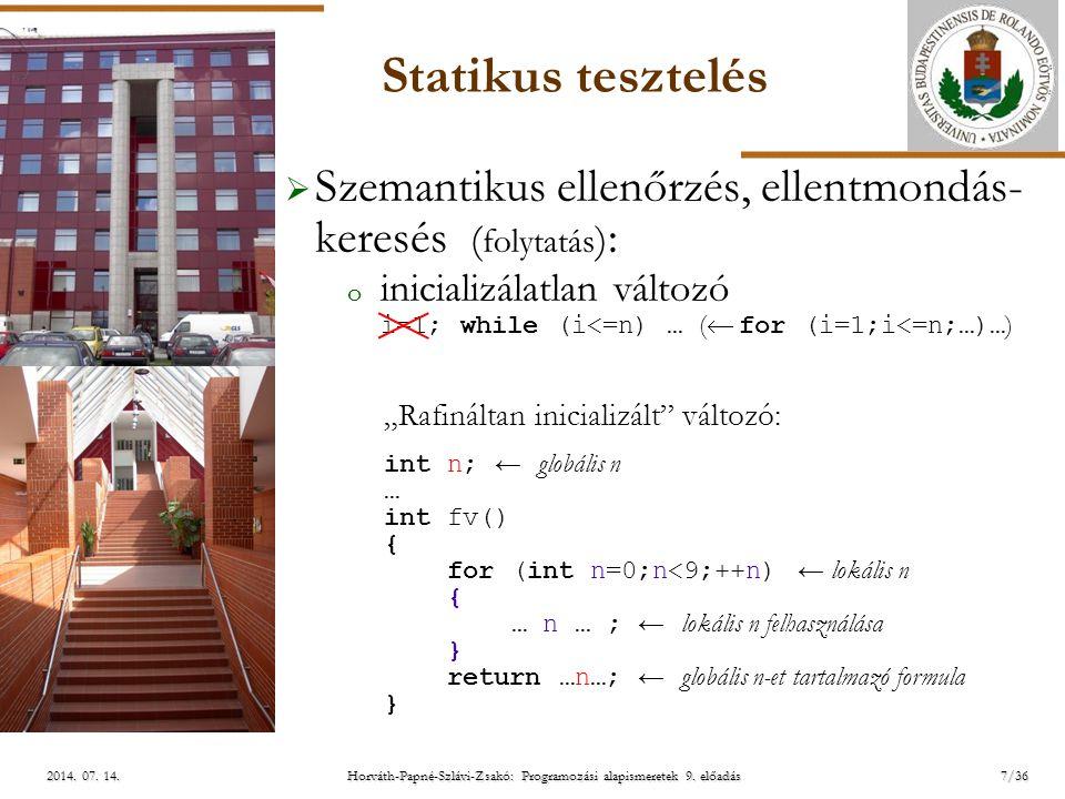 ELTE Horváth-Papné-Szlávi-Zsakó: Programozási alapismeretek 9. előadás2014. 07. 14.2014. 07. 14.2014. 07. 14. Statikus tesztelés  Szemantikus ellenőr