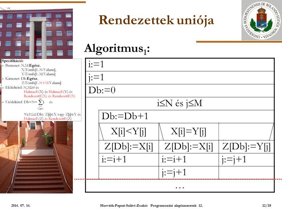 ELTE Rendezettek uniója i:=1 j:=1 Db:=0 i  N és j  M Db:=Db+1 X[i]<Y[j]X[i]=Y[j]X[i]>Y[j] Z[Db]:=X[i] Z[Db]:=Y[j] i:=i+1 j:=j+1 … Algoritmus 1 : 12/35 2014.